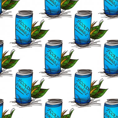 Blue jar with a cold drink pattern