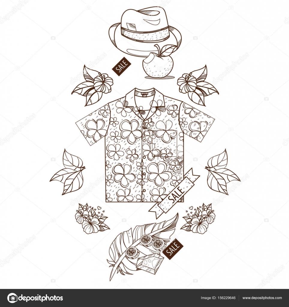 Gömlek şapka Tüy Anahat Için Boyama çizim Stok Vektör Filkusto