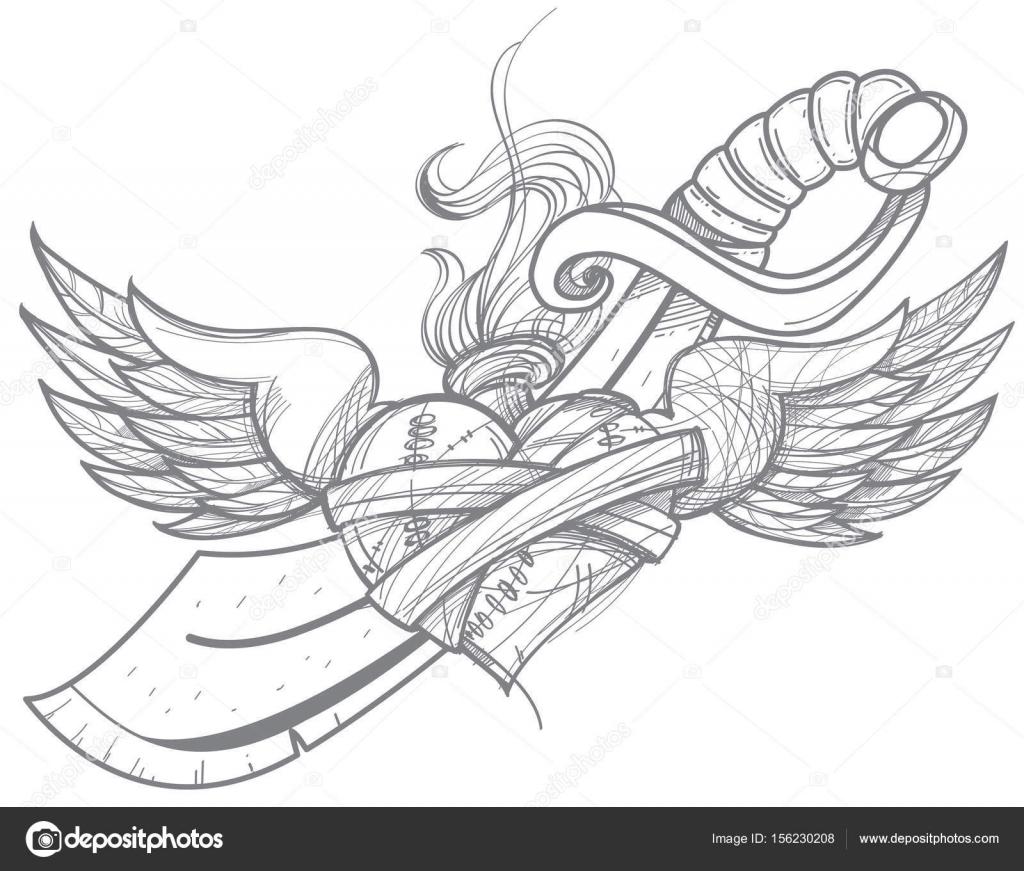 Croquis De Tatouage croquis pour tatouage de coeur avec des ailes — image vectorielle