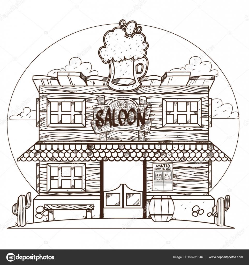 Sal n dibujo para colorear del contorno del salvaje oeste - Dessin saloon ...