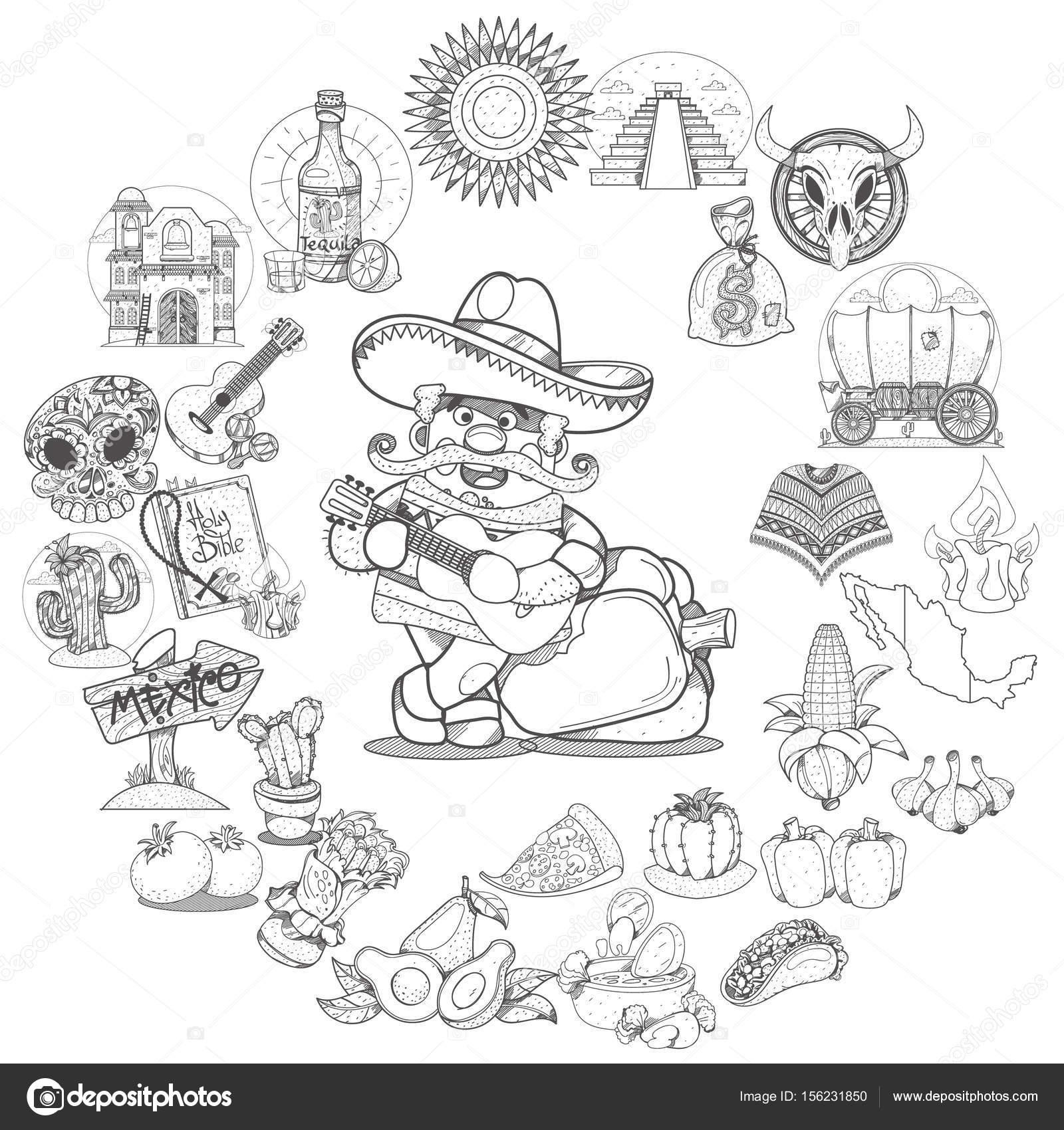 Artículos de comida mexicana — Archivo Imágenes Vectoriales ...