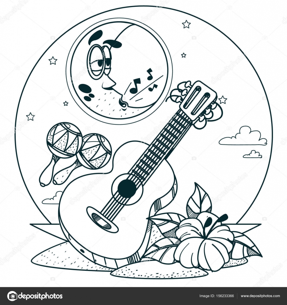 Guitar And Maracas For Coloring Stock Vector C Filkusto 156233366