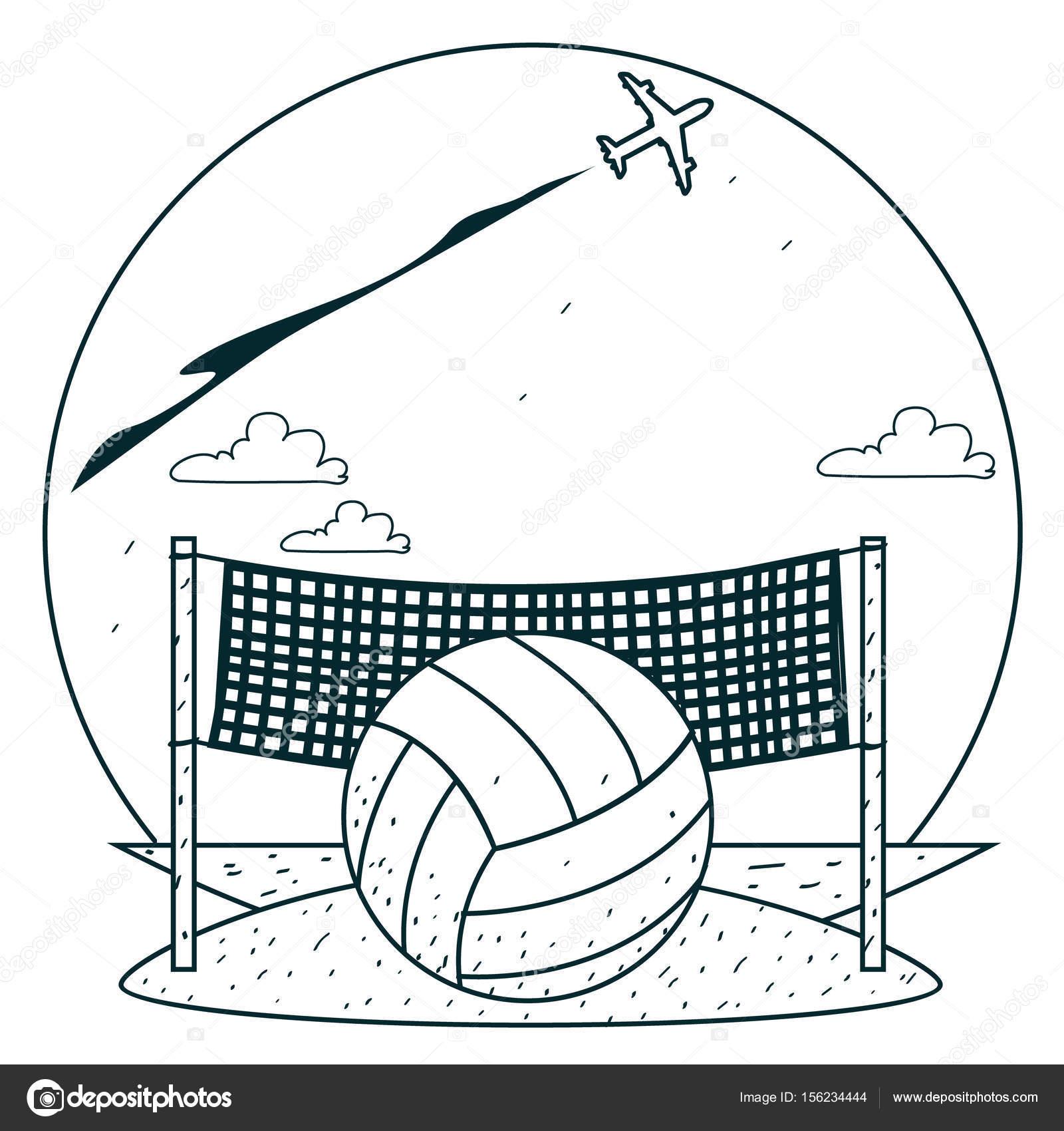 Voleibol de playa para colorear — Archivo Imágenes Vectoriales ...