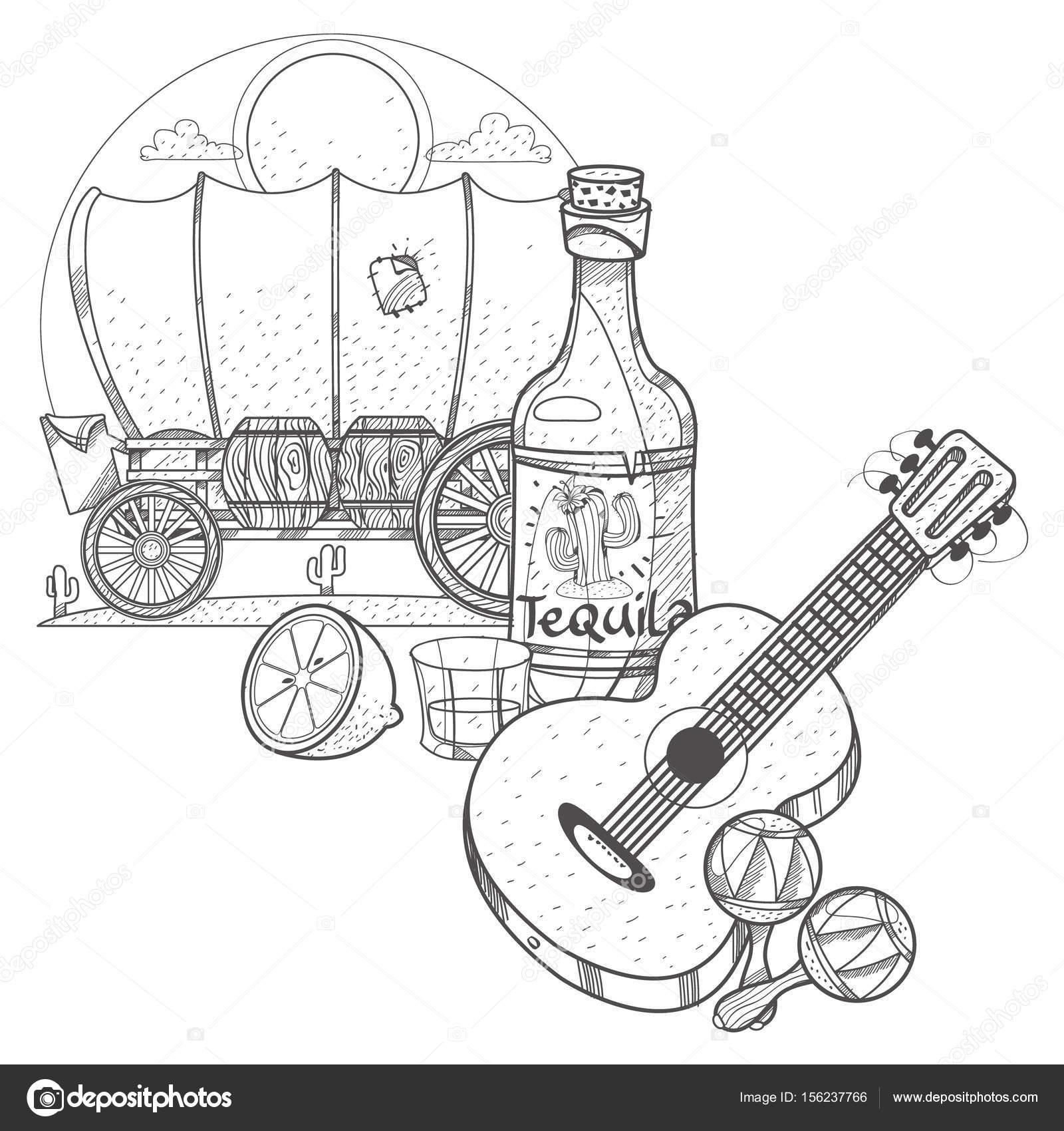 Guitarra, maracas. Cráneo de vaca en una rueda de — Vector de stock ...