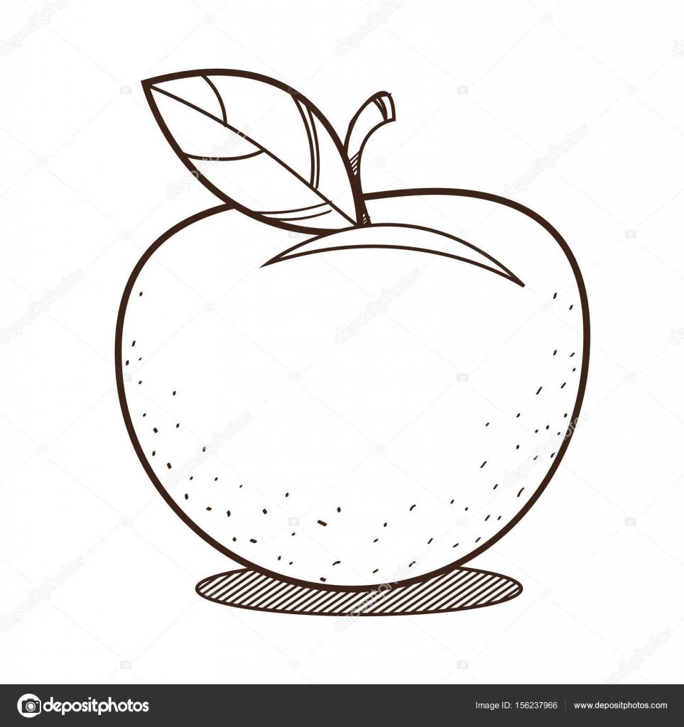 Dibujo para colorear del contorno de la manzana — Vector de stock ...