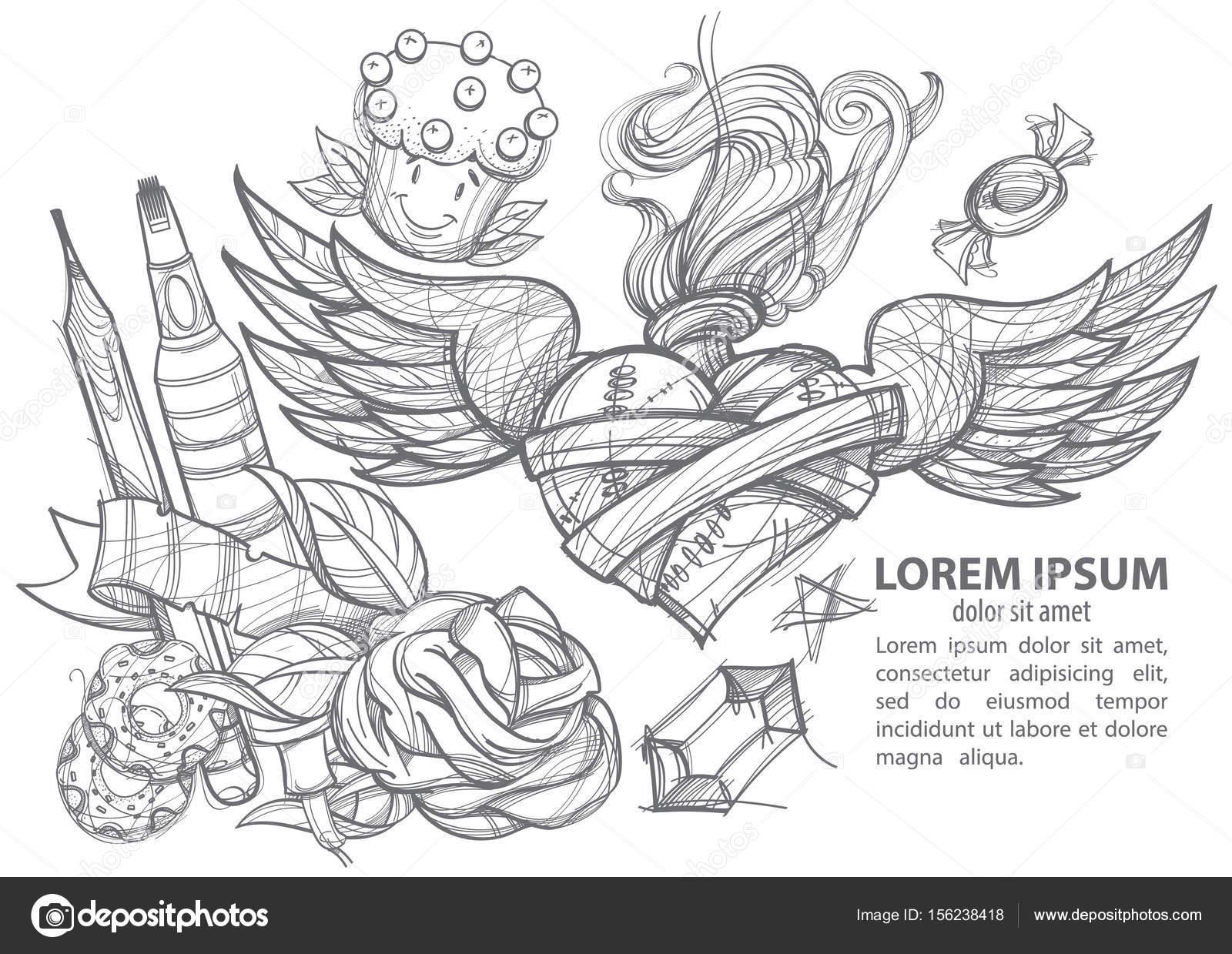 Umschlag Bleistift Donuts Marker Herz Mit Flügeln Und Blumen