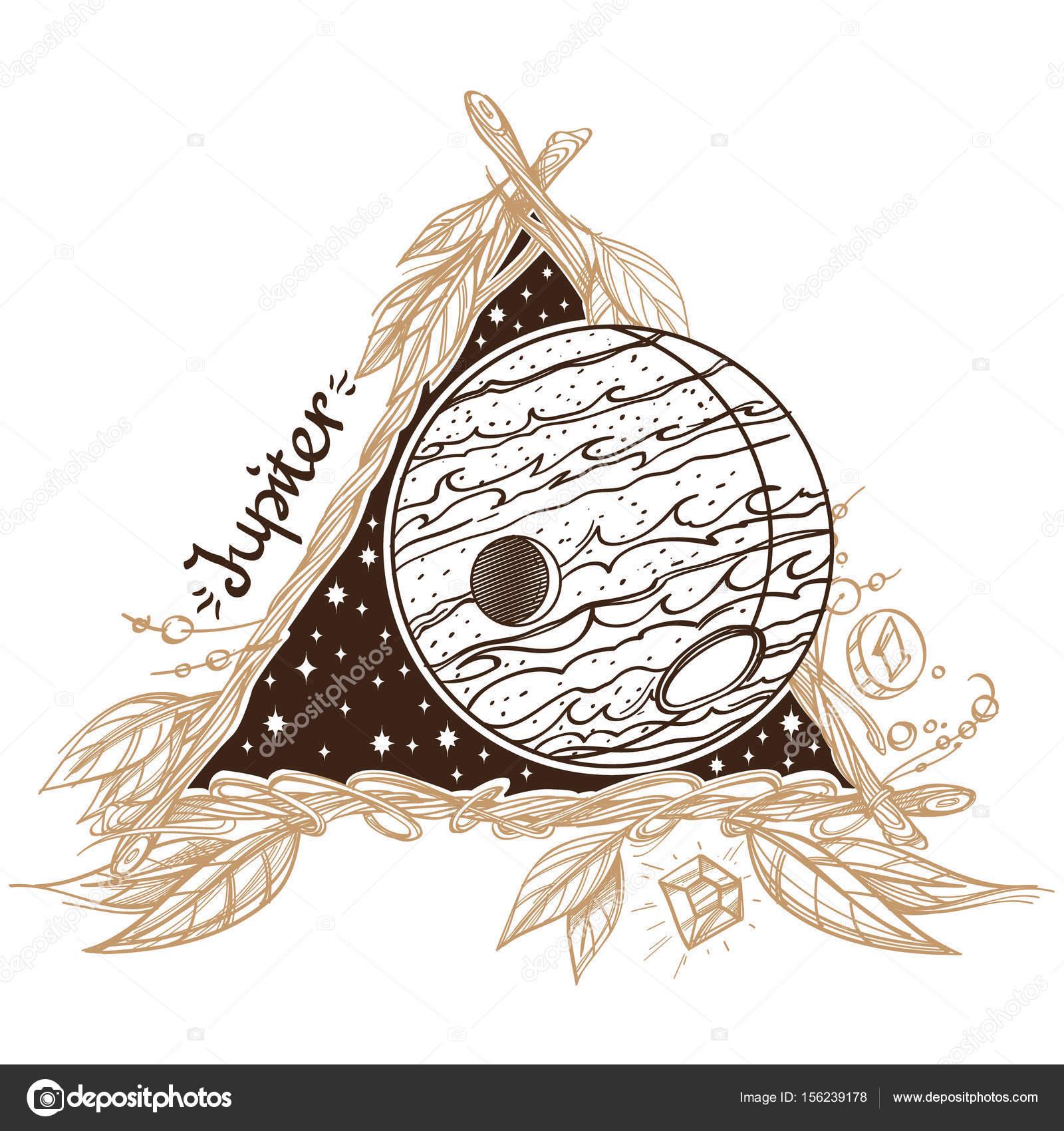 Jupiter. Planeten und Sterne des Sonnensystems — Stockvektor ...