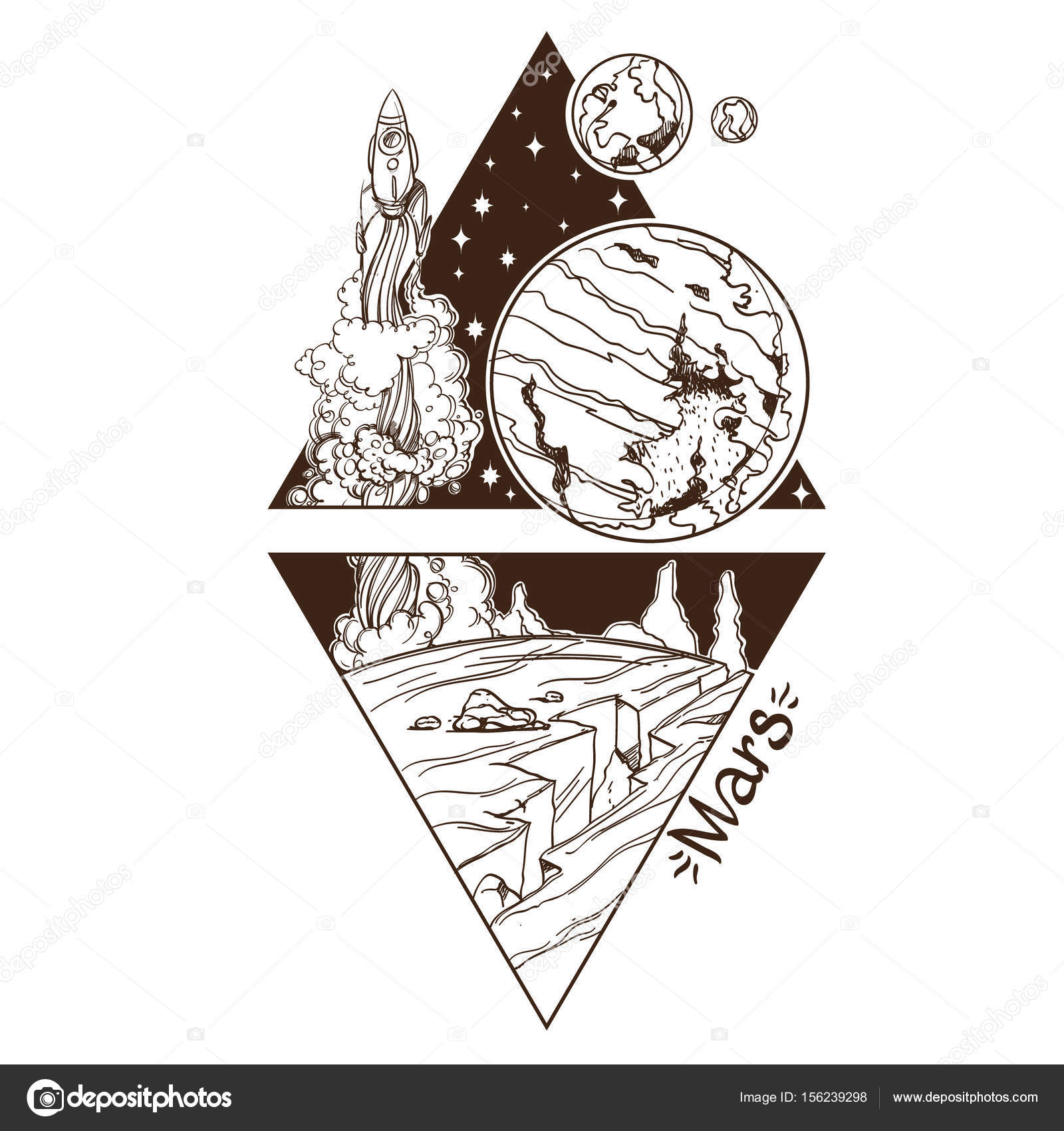 Planet of solar system stock vector filkusto 156239298 planets and stars of solar system symbols for astronomy and astrology coloring page stylized characters in the form of a triangle on a white background buycottarizona