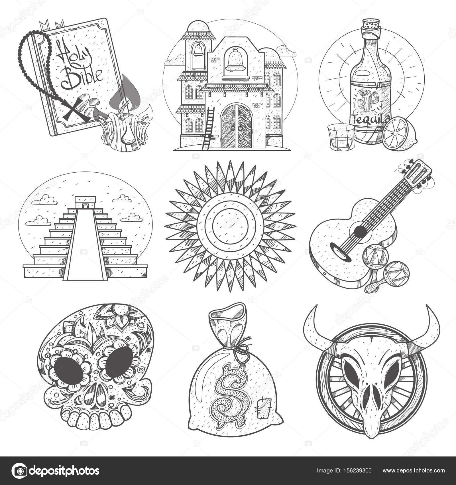 Iconos de tema mexicano — Archivo Imágenes Vectoriales © filkusto ...