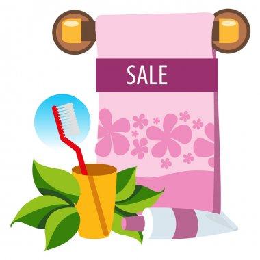 Sale. Towel, toothpaste, hygiene. Beauty salon. Colored illustration for design.