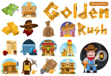 Set of illustrations on the theme of Goldfield.