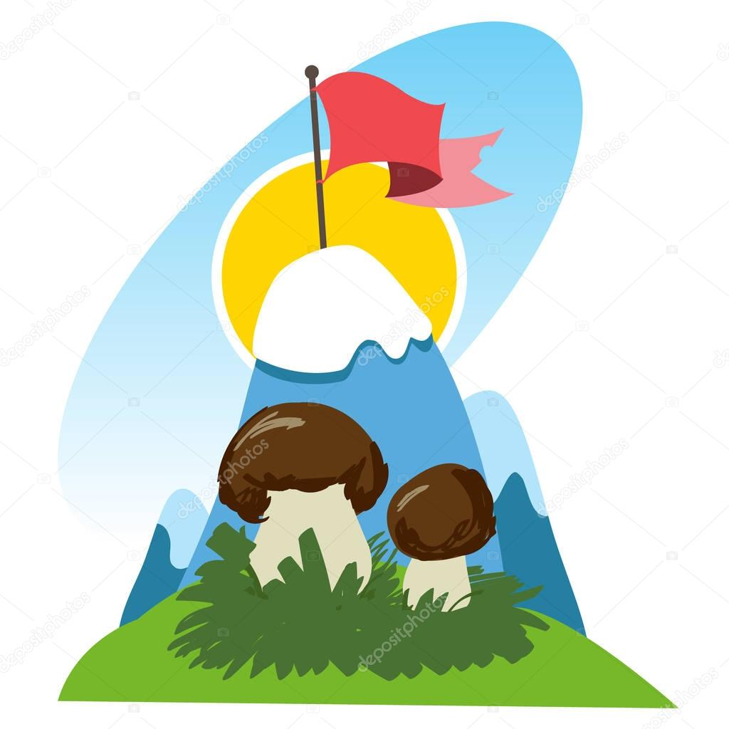 Hiking, climbing, traveling color illustration.