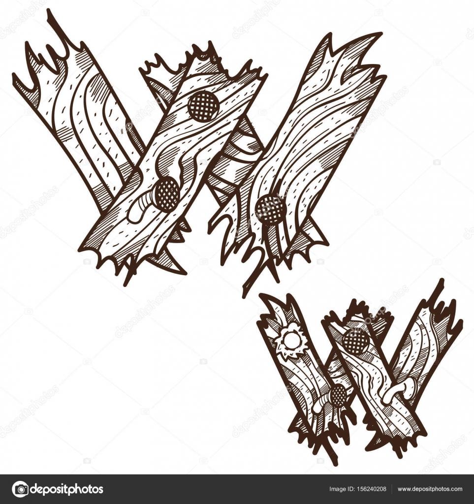 Letra W de tablones de madera — Archivo Imágenes Vectoriales ...