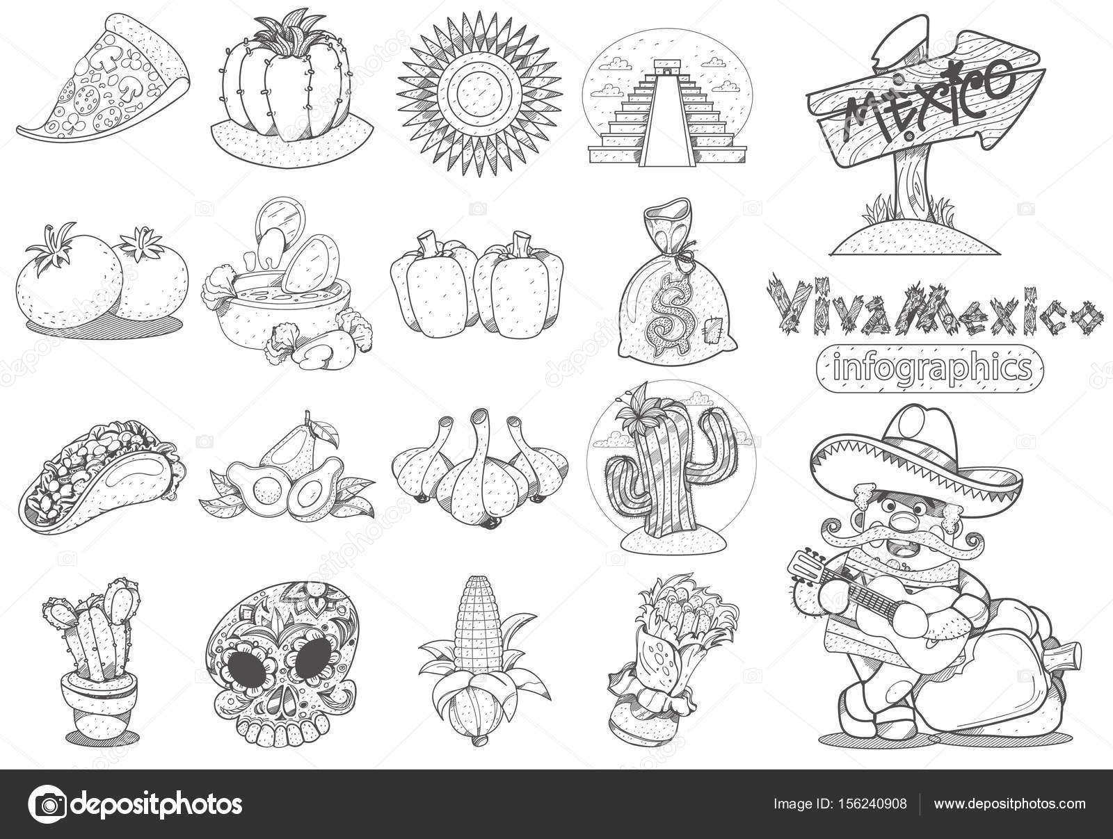 Iconos de tema mexicano — Vector de stock © filkusto #156240908