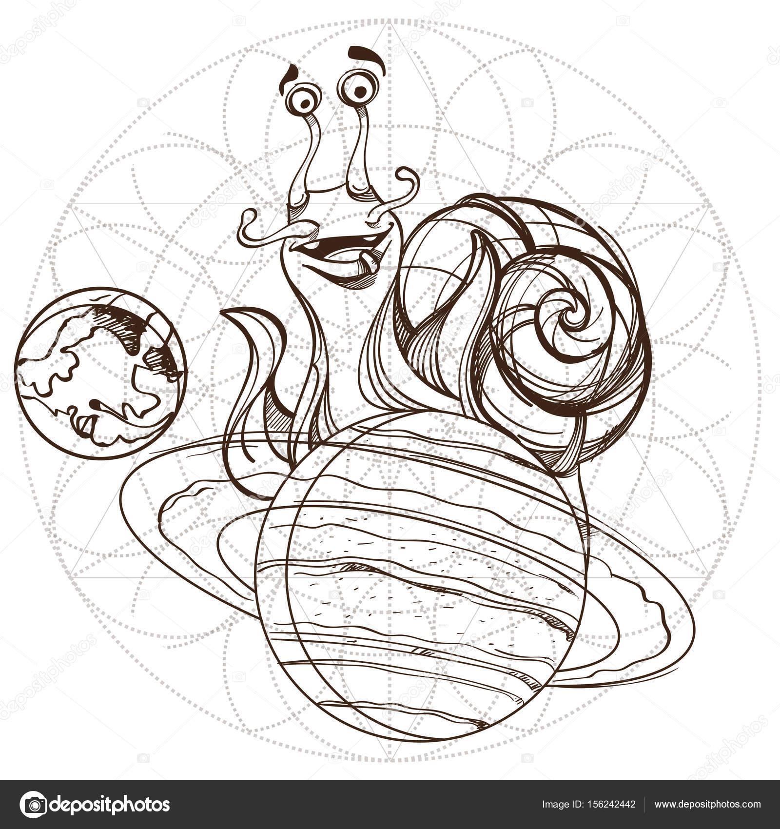 Allegra Lumaca Sul Pianeta Saturno Vettoriali Stock Filkusto