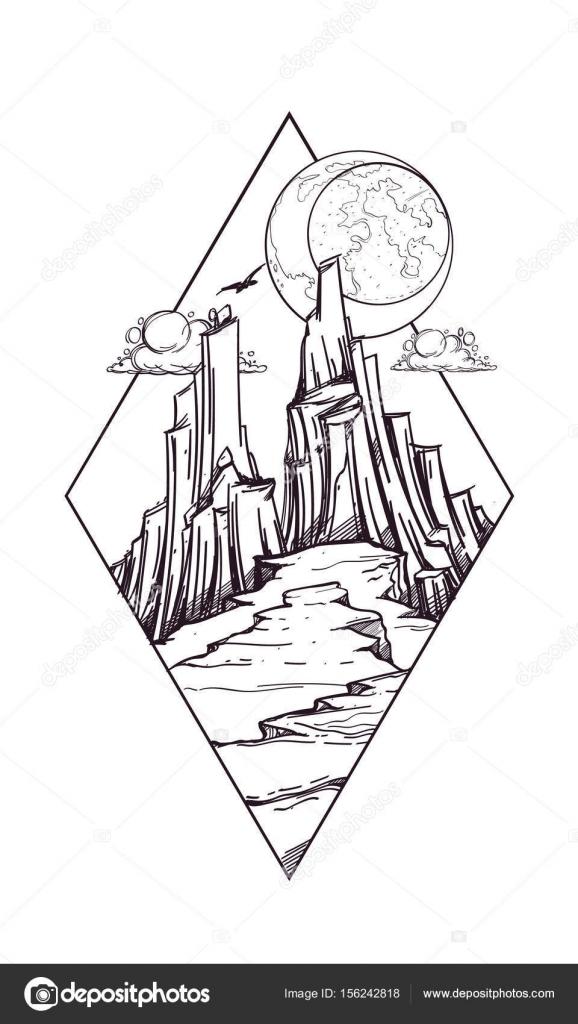 Icono del fantástico paisaje post-apocalíptico de montañas — Archivo ...