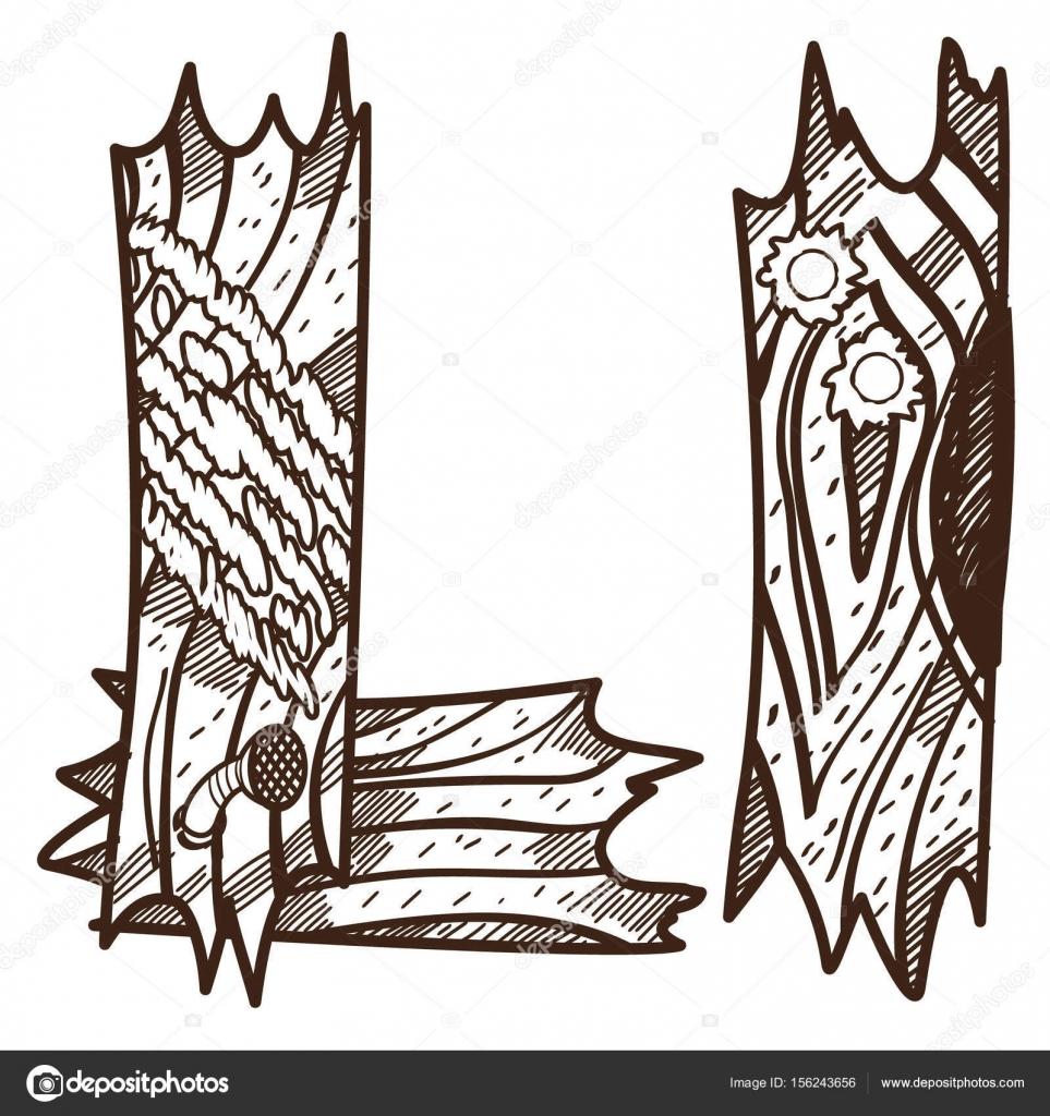 Ahşap Plakalar üzerinden L Harfi Stok Vektör Filkusto 156243656