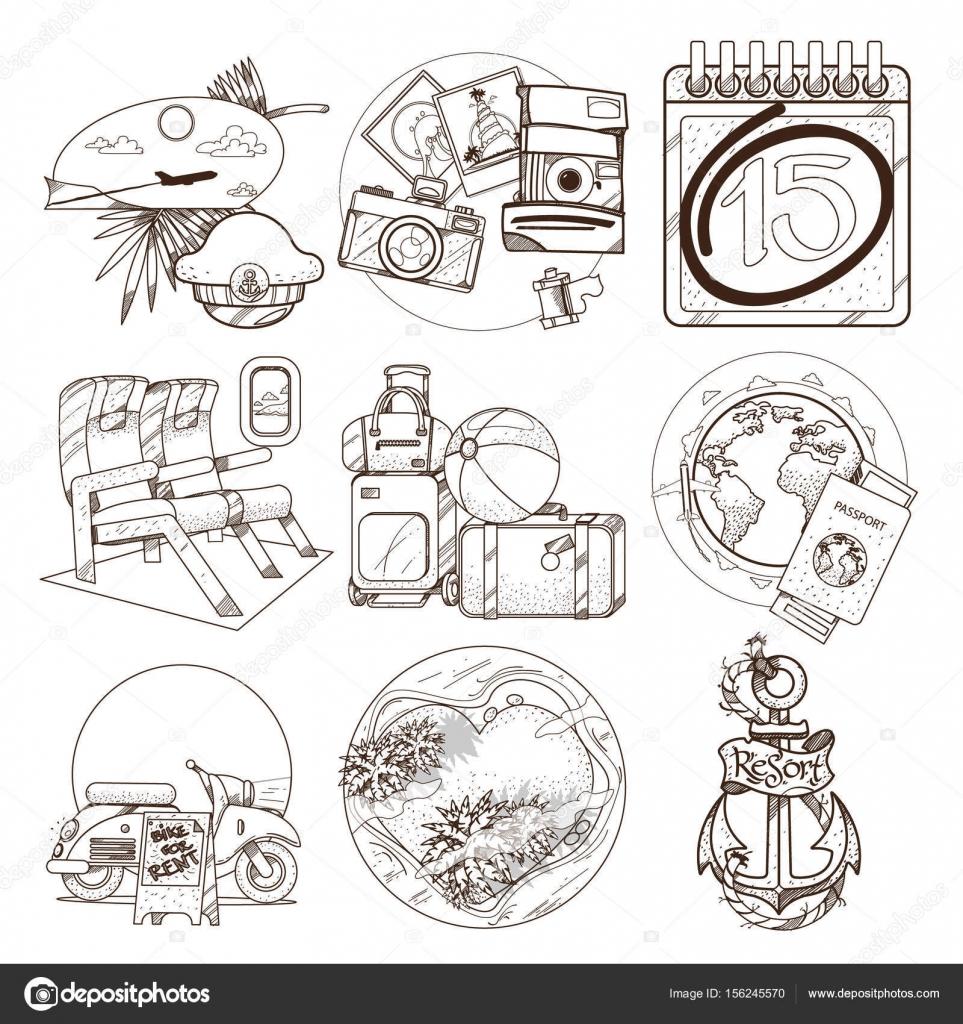 Kontur-Illustrationen von Sommer-Thema — Stockvektor © filkusto ...