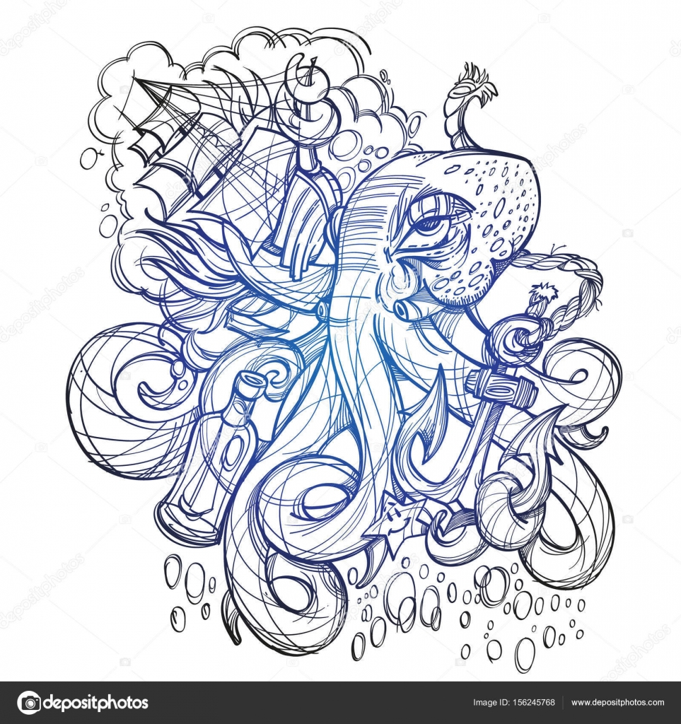 octopus a ship and a frigate anchored sketch u2014 stock vector