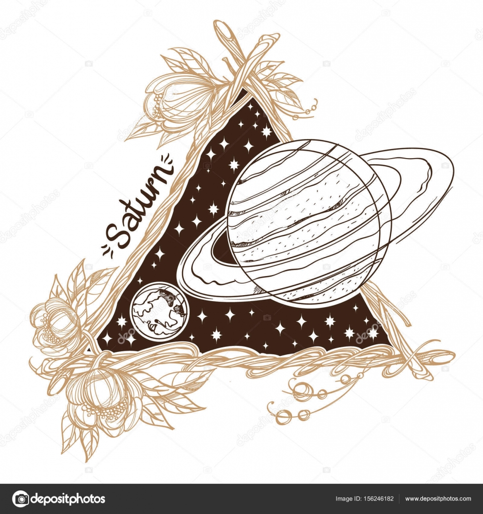Saturn. Planets and stars of Solar system. — Stock Vector © filkusto ...