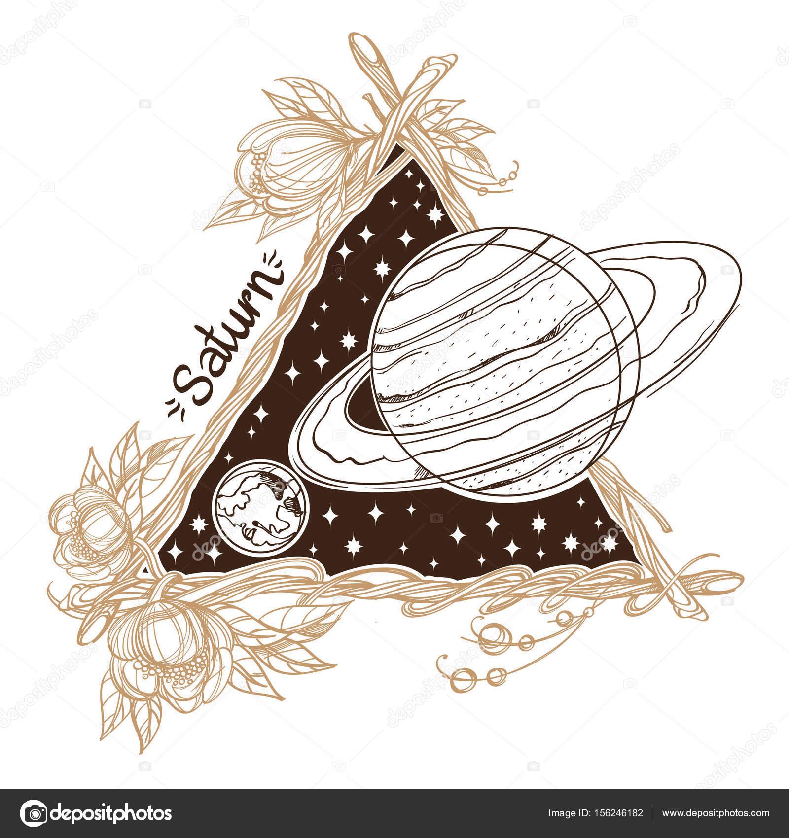 Saturno Pianeti E Le Stelle Del Sistema Solare Vettoriali Stock