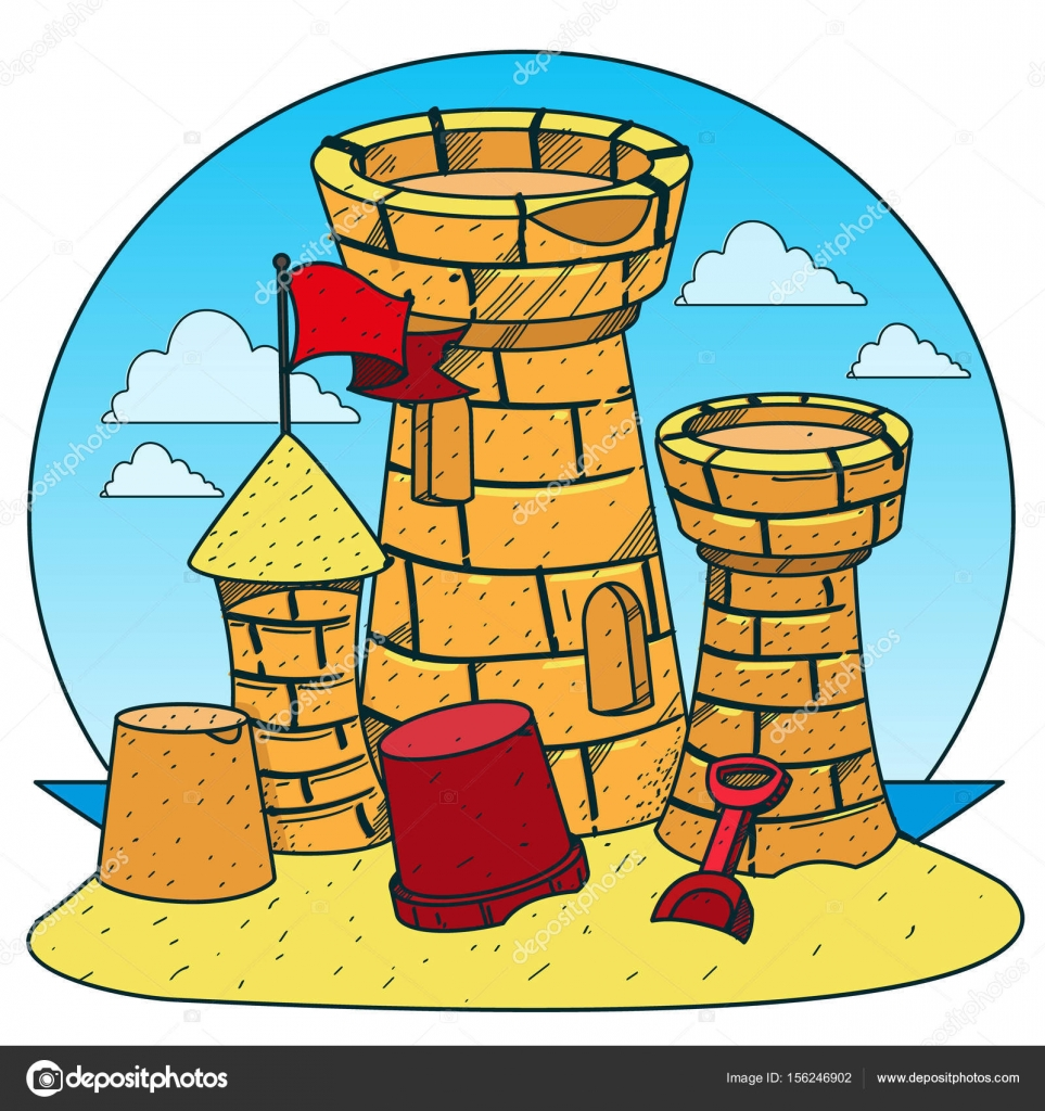 Sandburg clipart  sandburg am strand — Stockvektor © filkusto #156246902