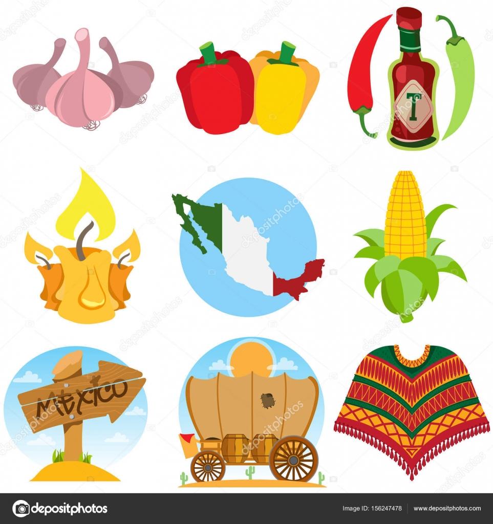 2d0fac7249590 Conjunto de iconos sobre un tema mexicano. Comida mexicana y artículos para  el hogar — Vector de ...