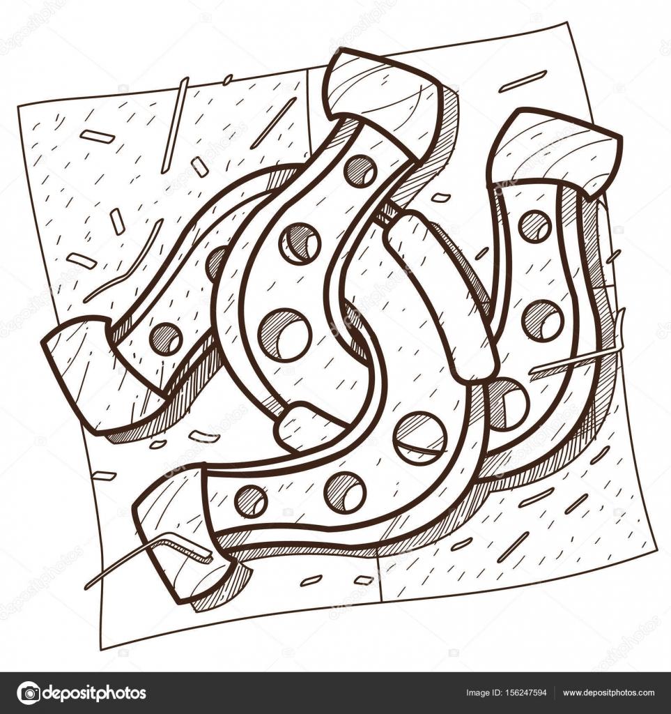 Dibujo para colorear del contorno de la herradura — Vector de stock ...