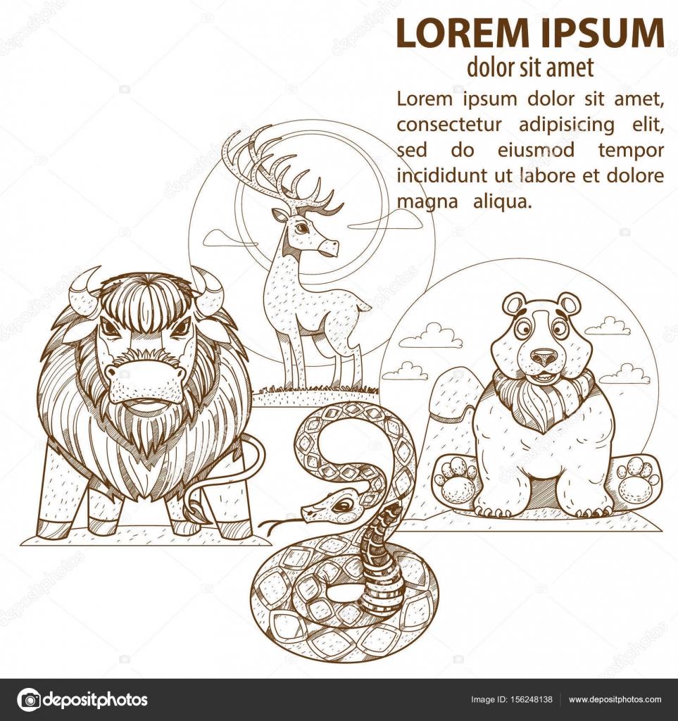 conjunto de animales salvajes — Archivo Imágenes Vectoriales ...