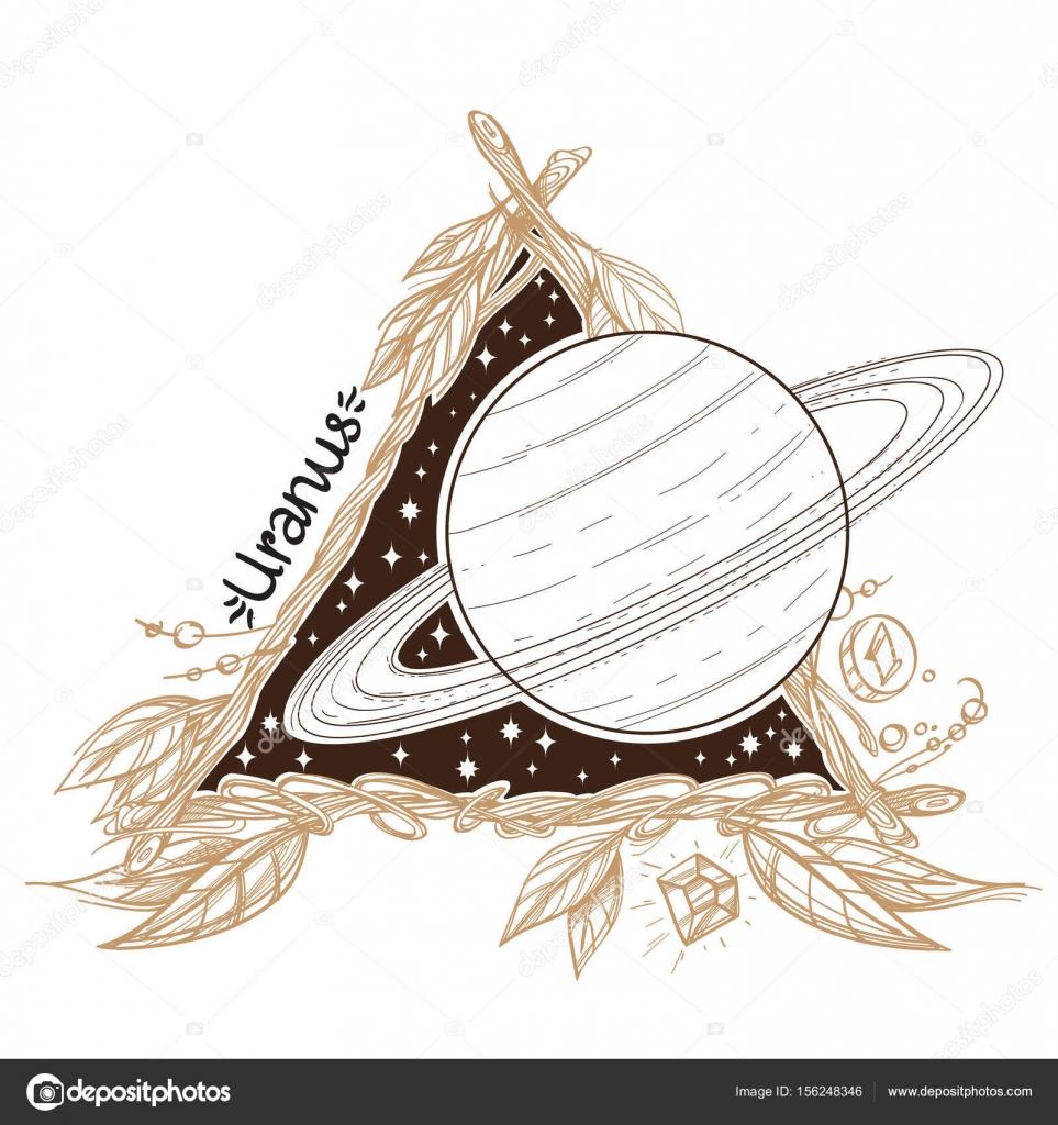 Urano. Planetas y estrellas del Sistema Solar — Vector de stock ...