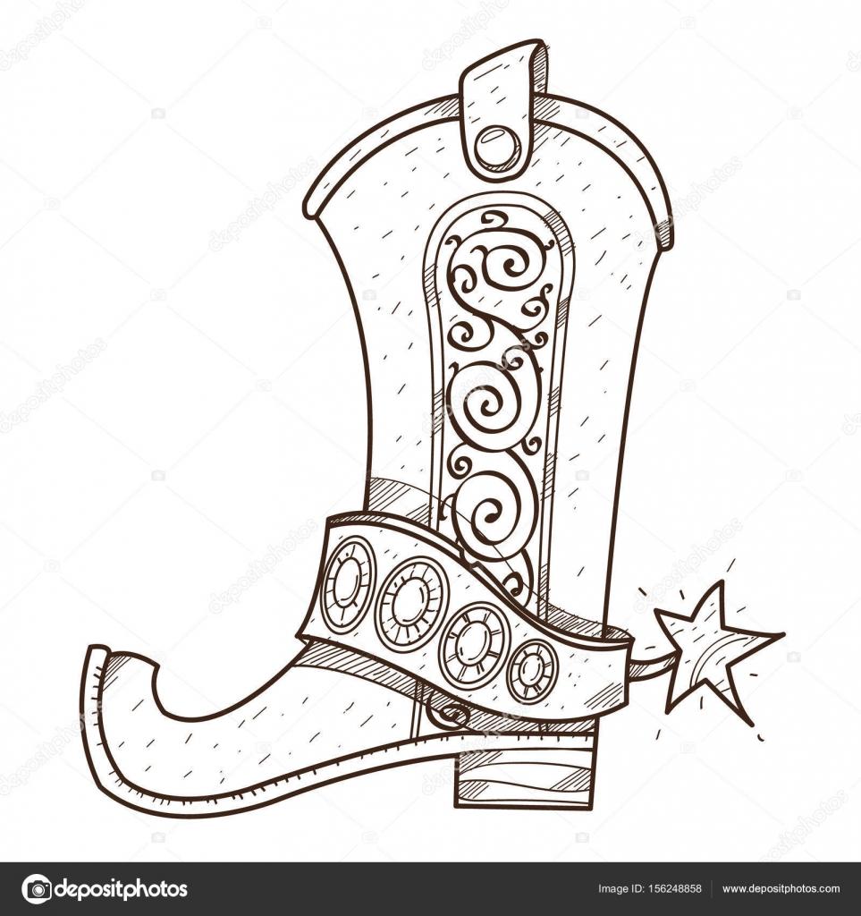 Kovboy çizme Logo Vahşi Batı Anahat Için Boyama çizim Stok Vektör