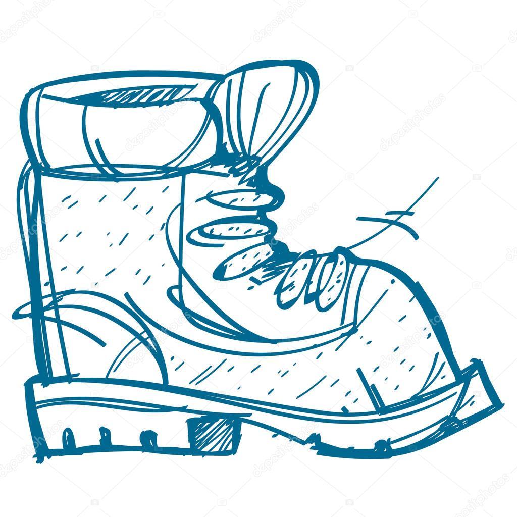 Boot-Kletterer. Wandern, Klettern, Reisen, Skizze, Färbung ...