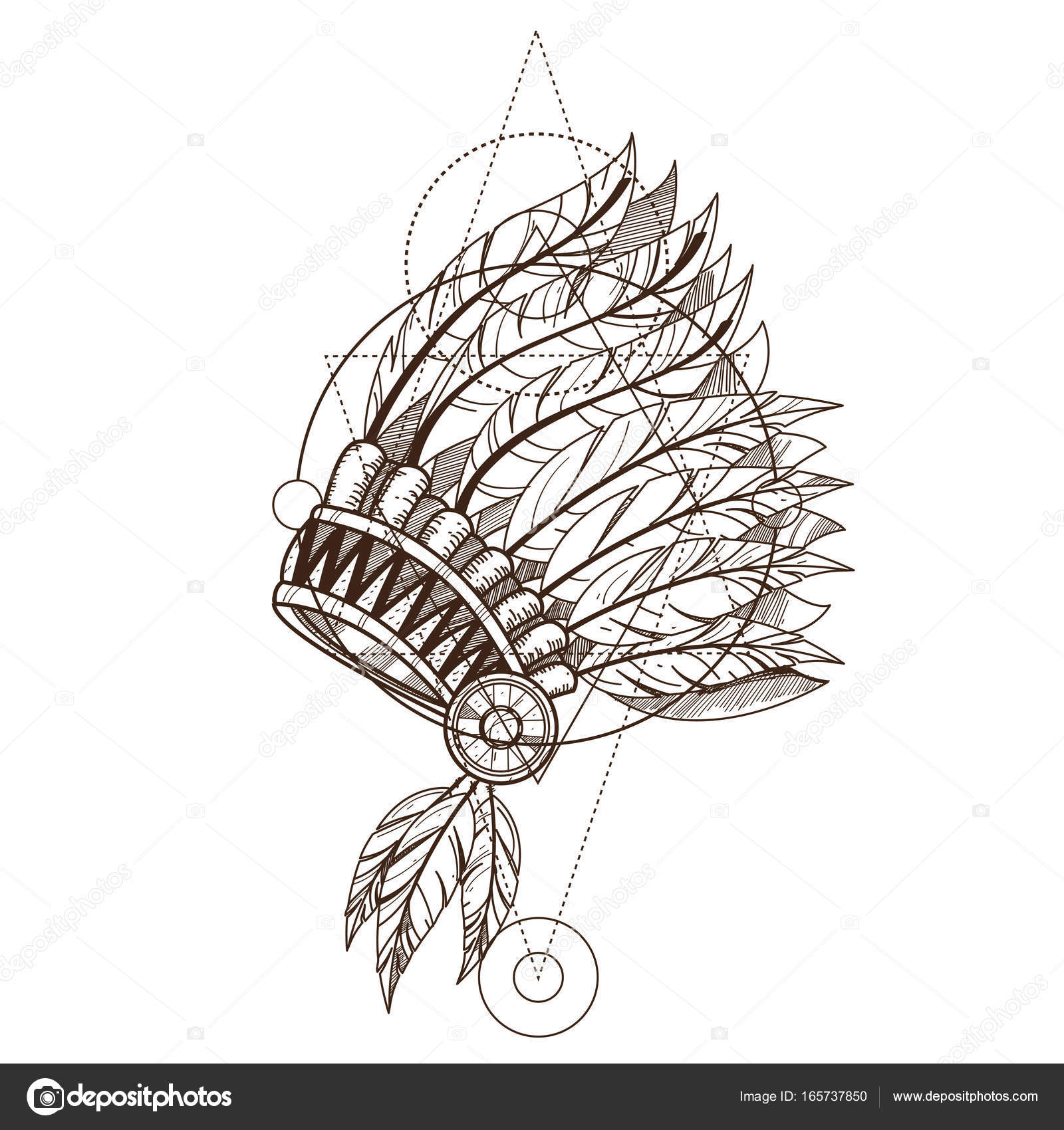 35139c0f8 Native American indian headdress with feathers. Monochrome vector  illustration isolated on white background.