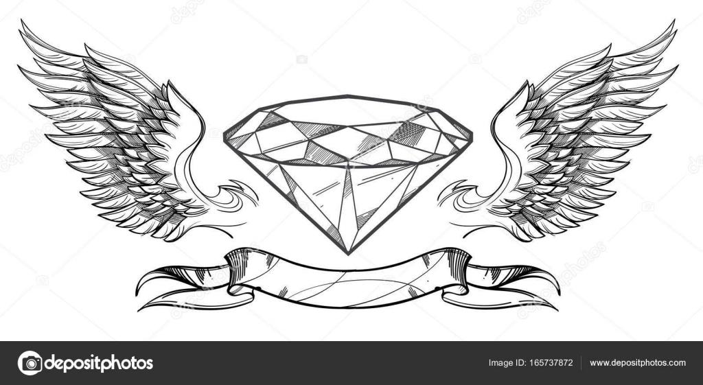 Dibujos: bocetos de diamantes | diamante, alas y cinta — Vector de ...