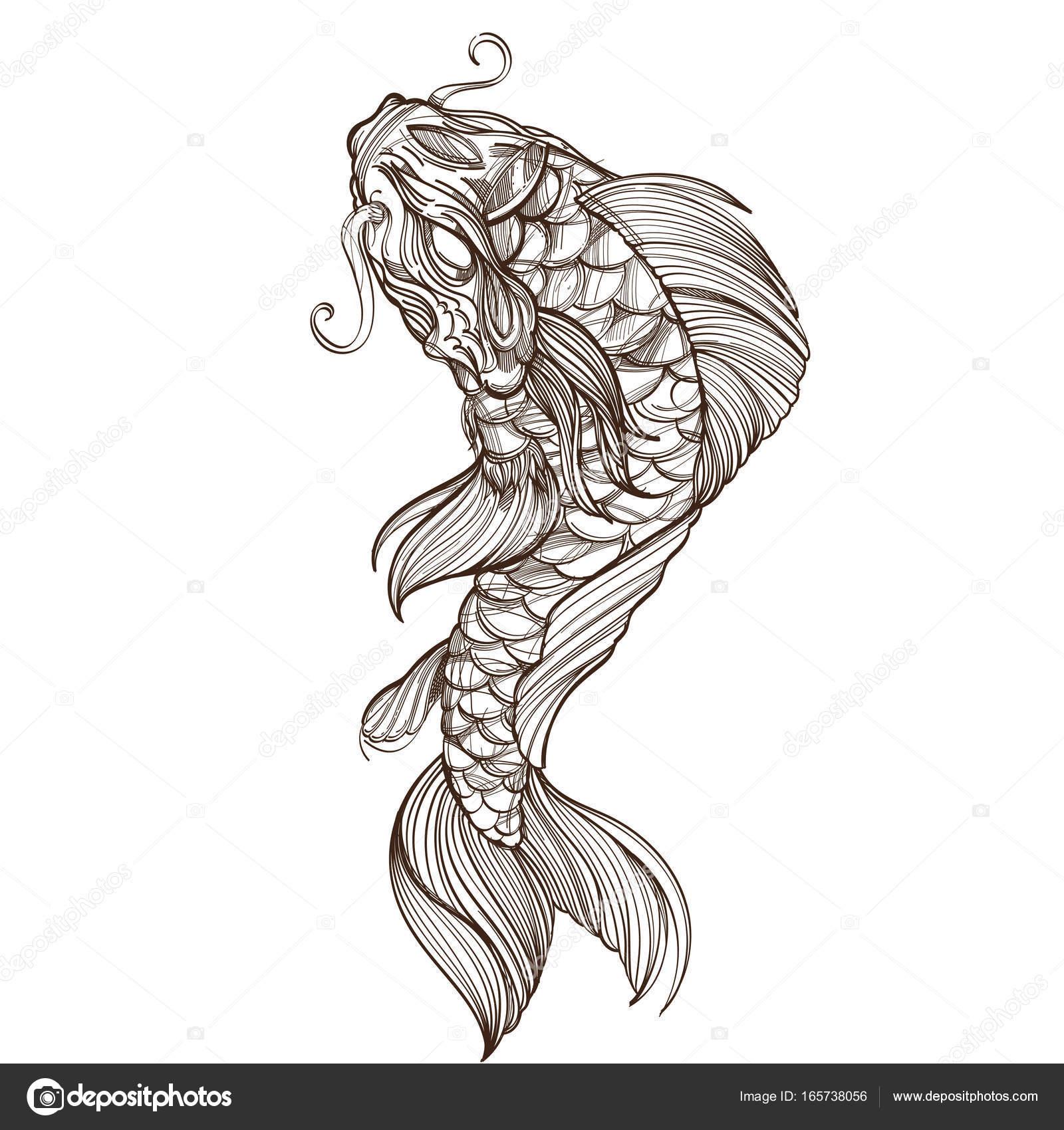 Contorno imagen de pez koi — Vector de stock © filkusto #165738056