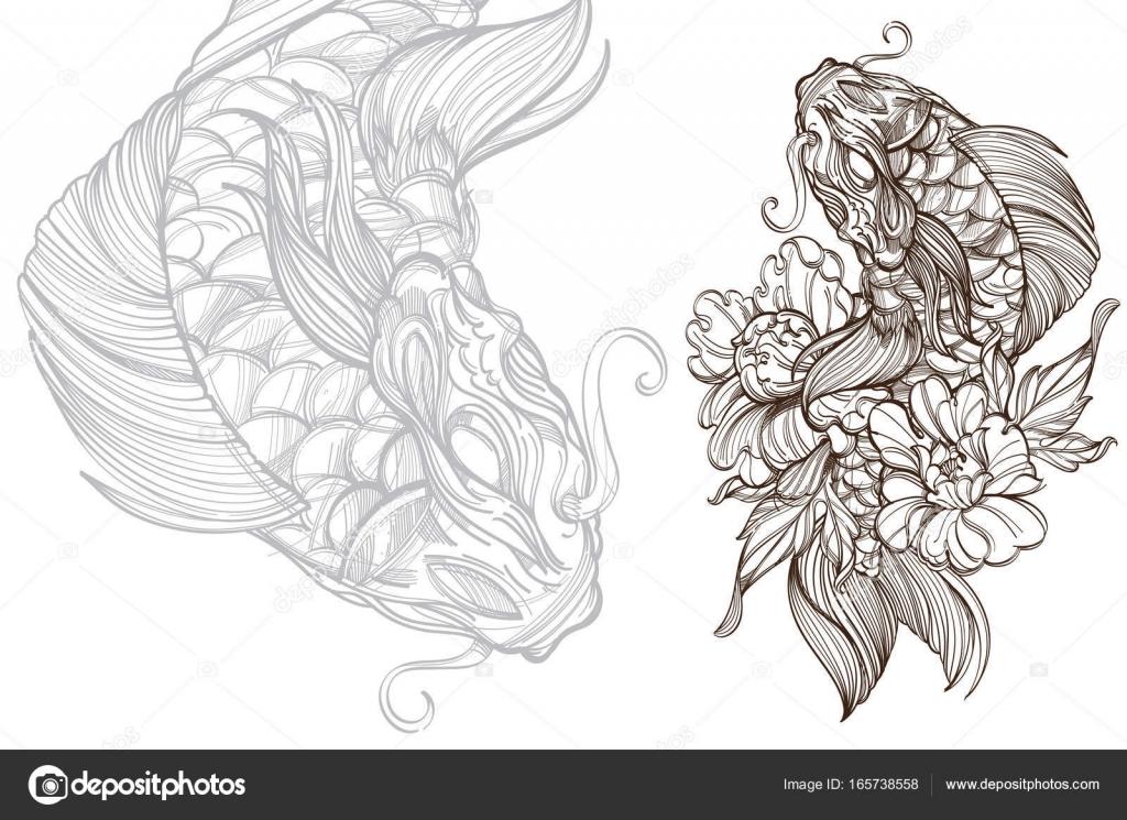 Peces koi contorno con flor — Archivo Imágenes Vectoriales ...