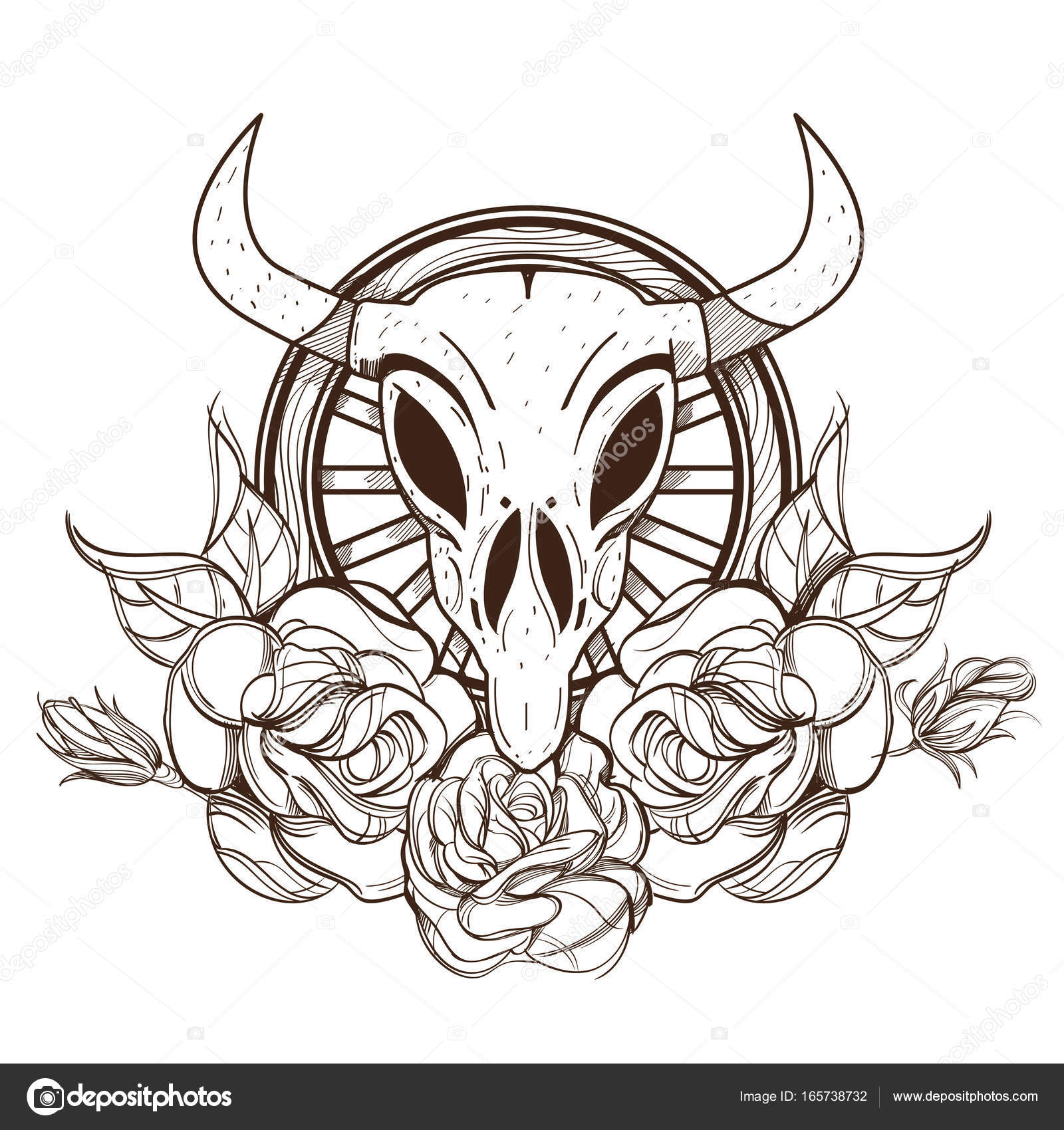 Cow Or Bull Skull With Roses Outline Vector Illustration Isolated On White Background For Tattoos Design T Shirts Coloring Pages And Other Items