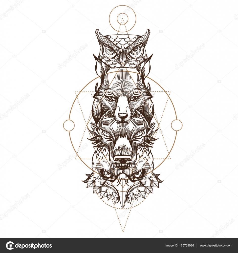 Chouette Loup Renard Et Aigle De Totem Image Vectorielle