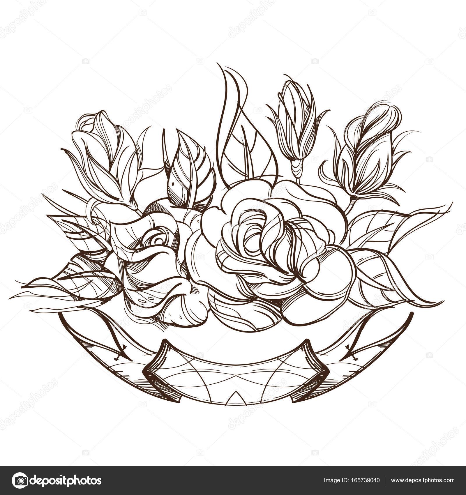 Imágenes Petalos De Rosa Para Colorear Rosas De Dibujado A Mano
