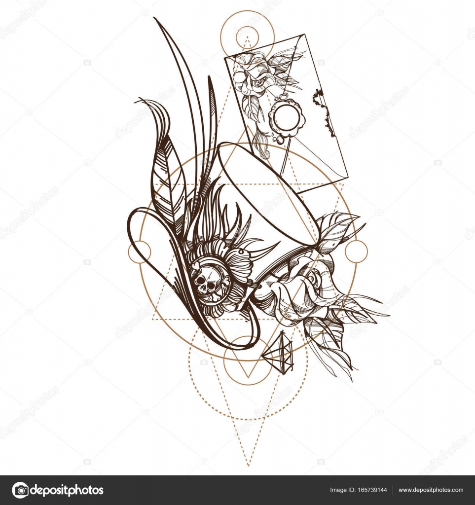 Chapeau Haut De Forme Avec Rose Et Enveloppe Image Vectorielle