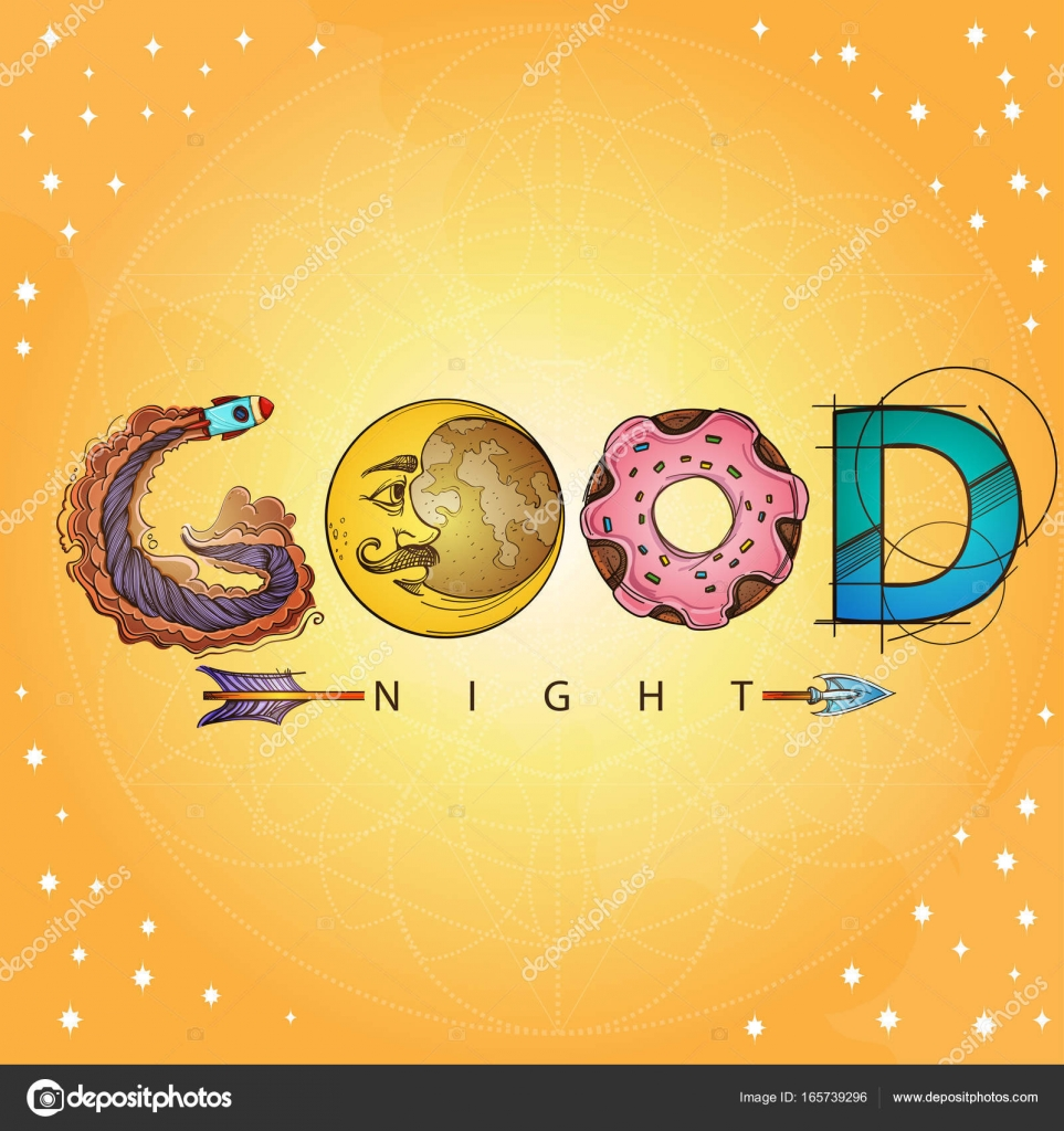 Good Night With Moon And Stars Stock Vector Filkusto 165739296