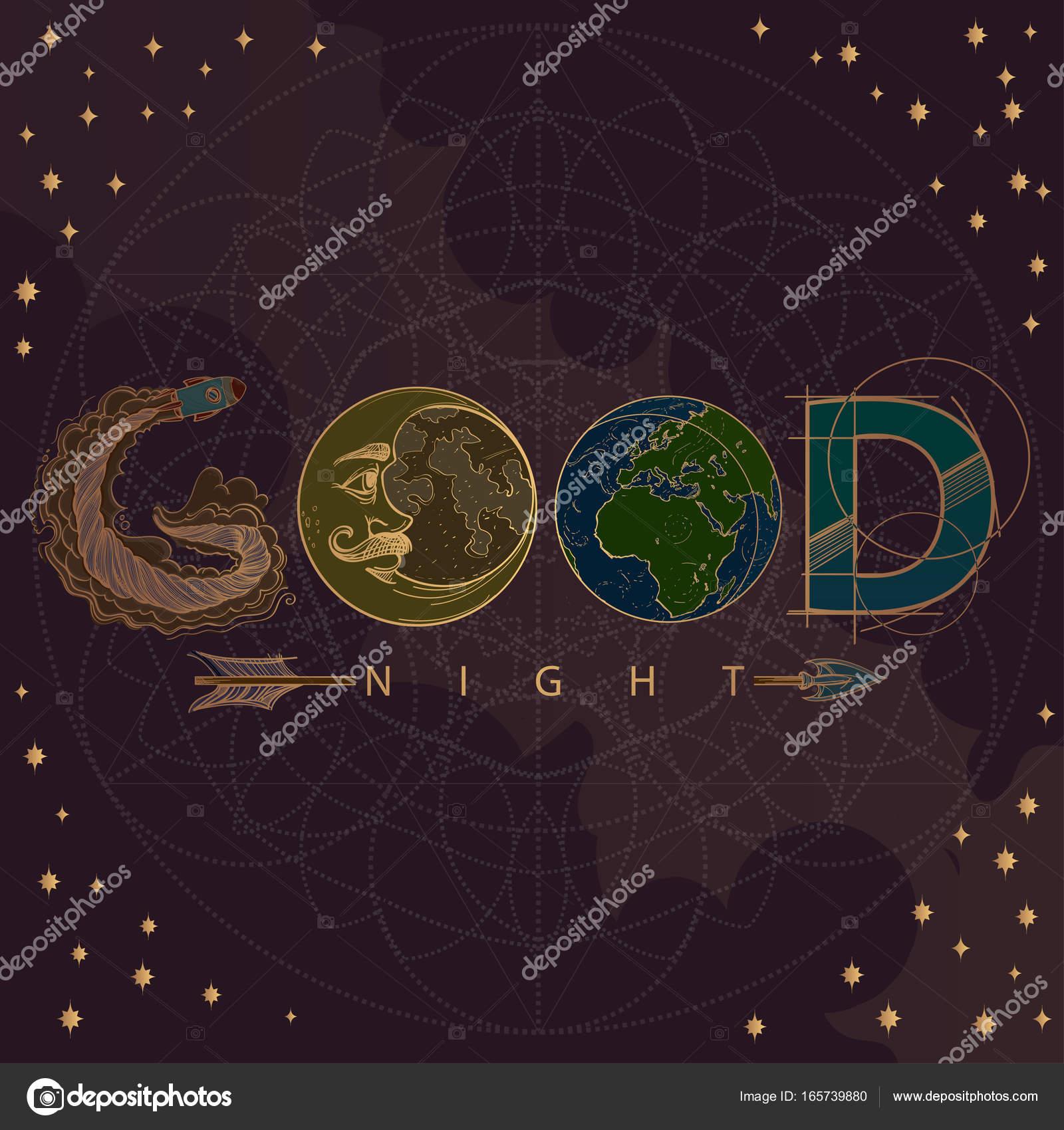 Buona Notte Con La Luna E Le Stelle Vettoriali Stock Filkusto