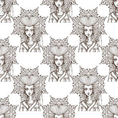 pattern with beautiful female portraits.
