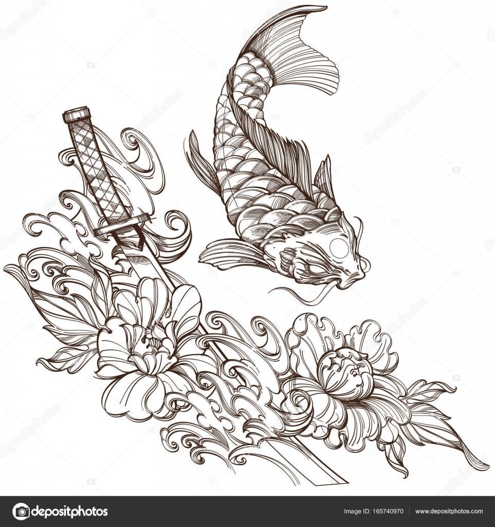 Dibujos Samurais Japoneses Para Tatuajes Carpas Koi Con Peonías Y