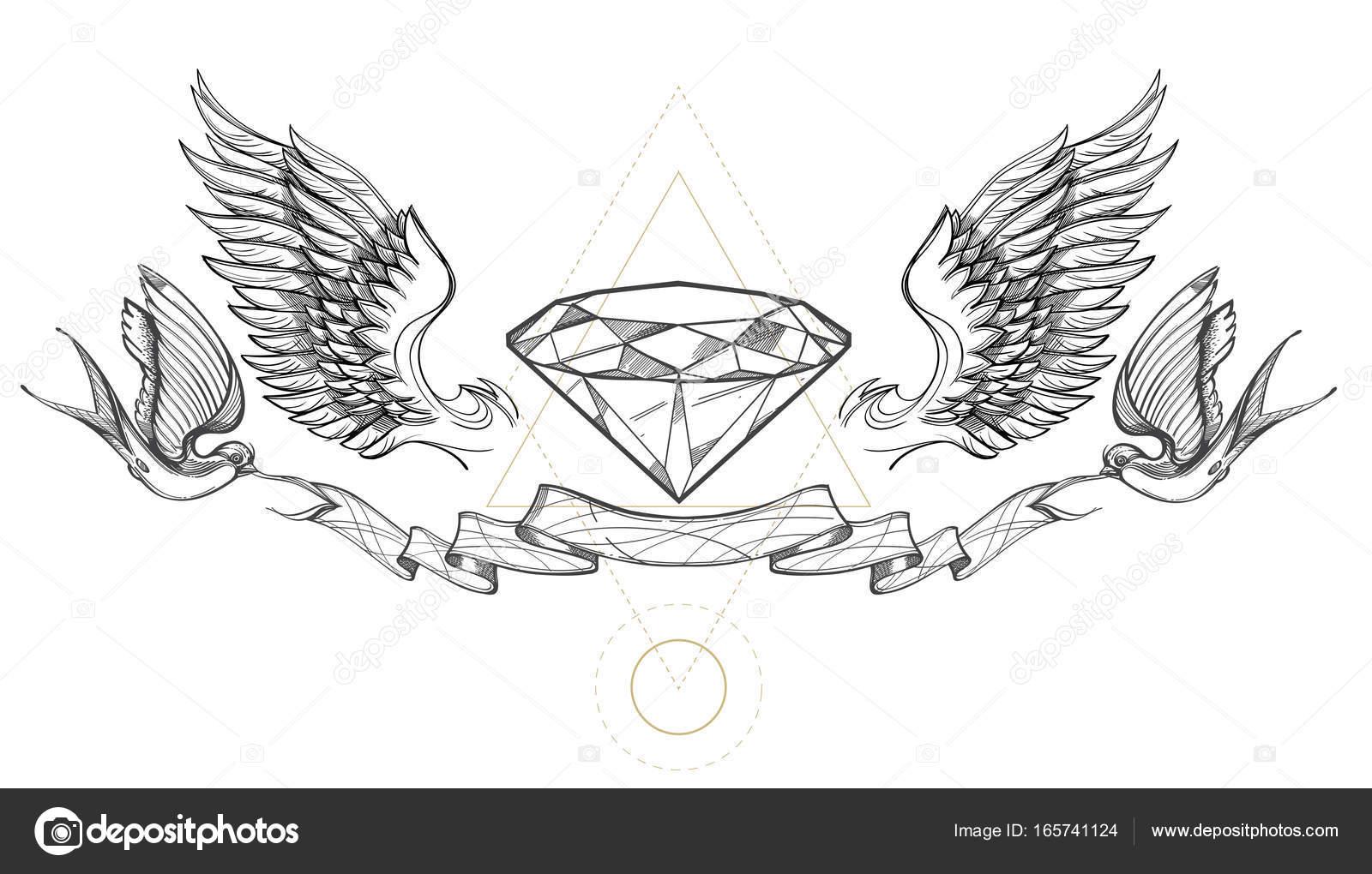 Image Of Diamond Wings Ribbon And Swallows Vetor De
