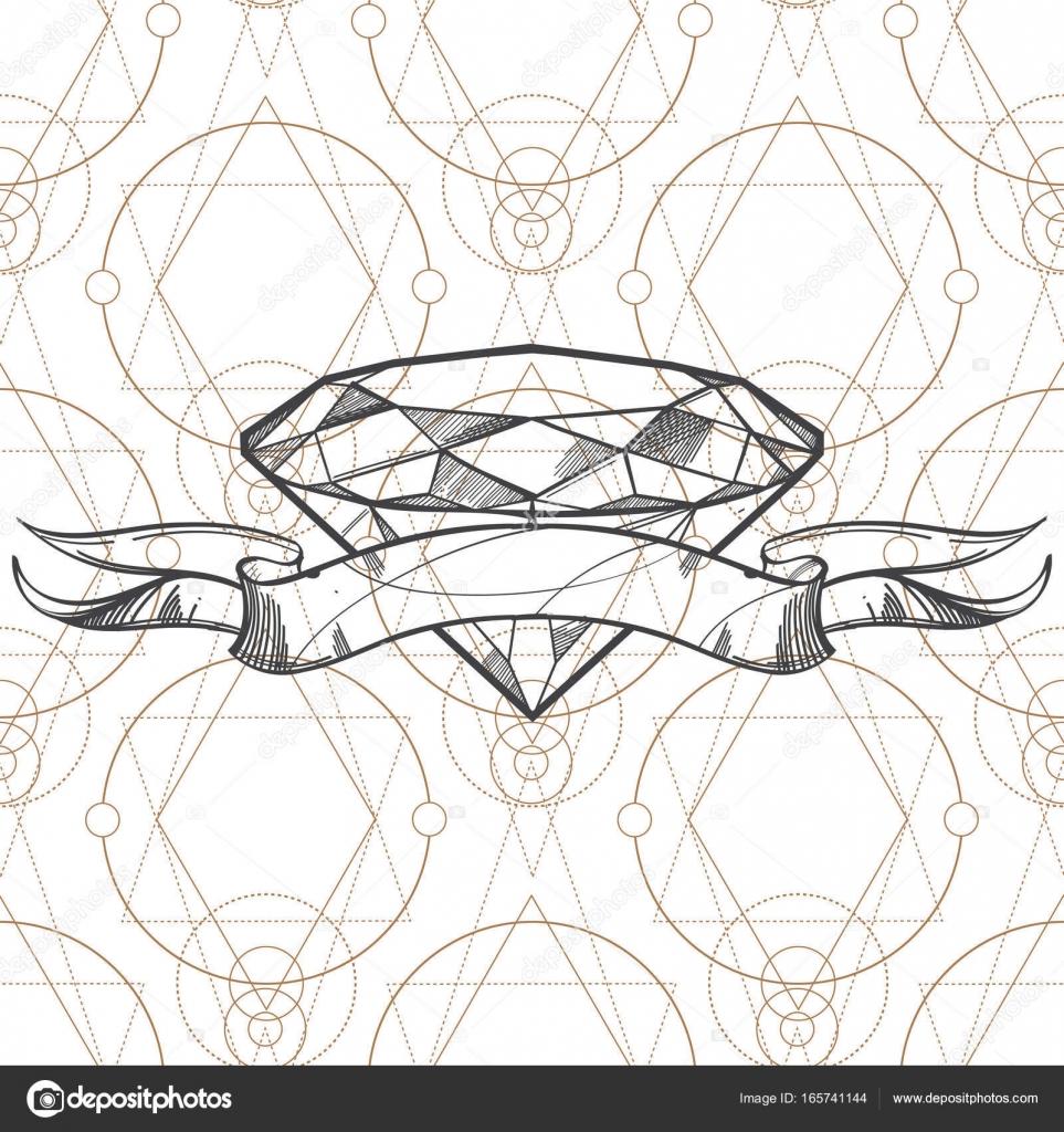 Cinta y diamante dibujado a mano — Archivo Imágenes Vectoriales ...