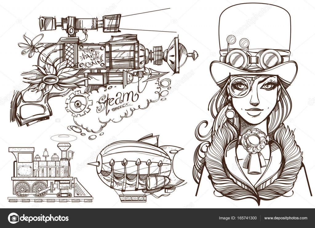 A woman in old hat and a steampunk gun. — Stock Vector © filkusto ...