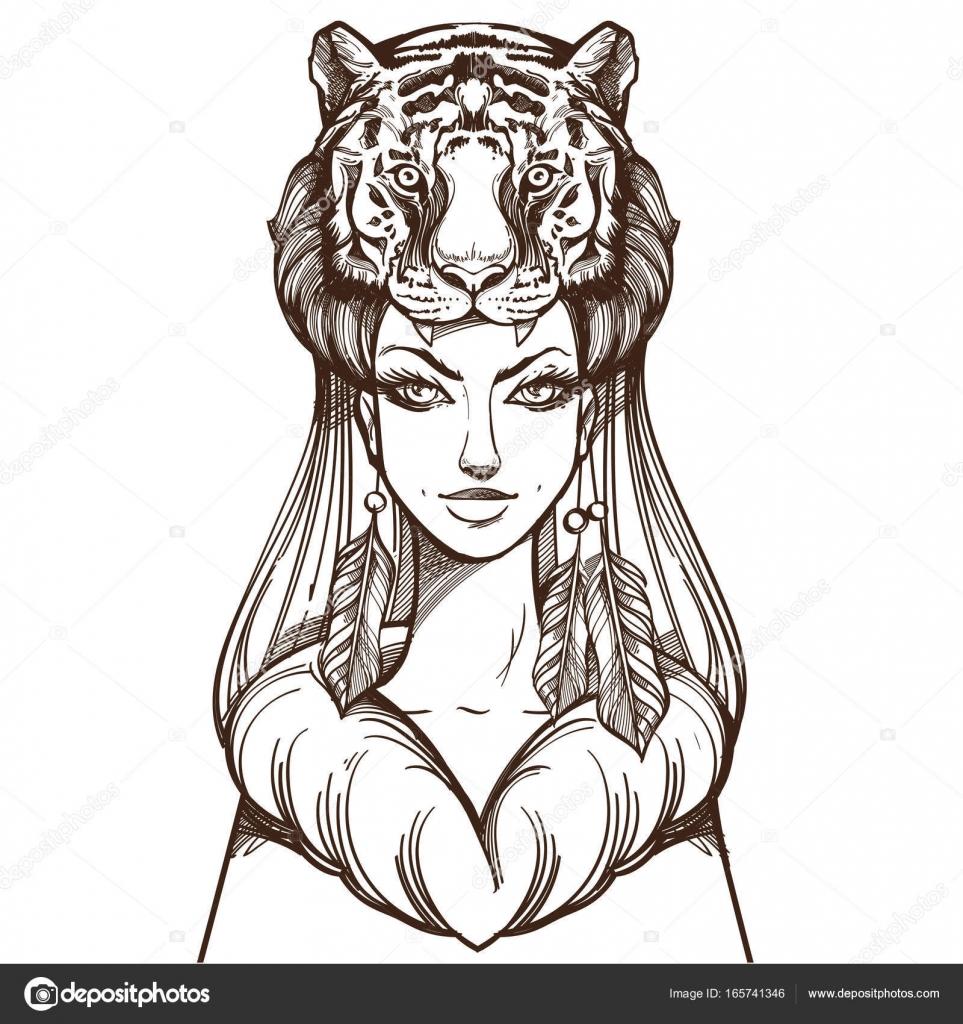 Bir Kadın Bir Kaplan Maskesi Stok Vektör Filkusto 165741346