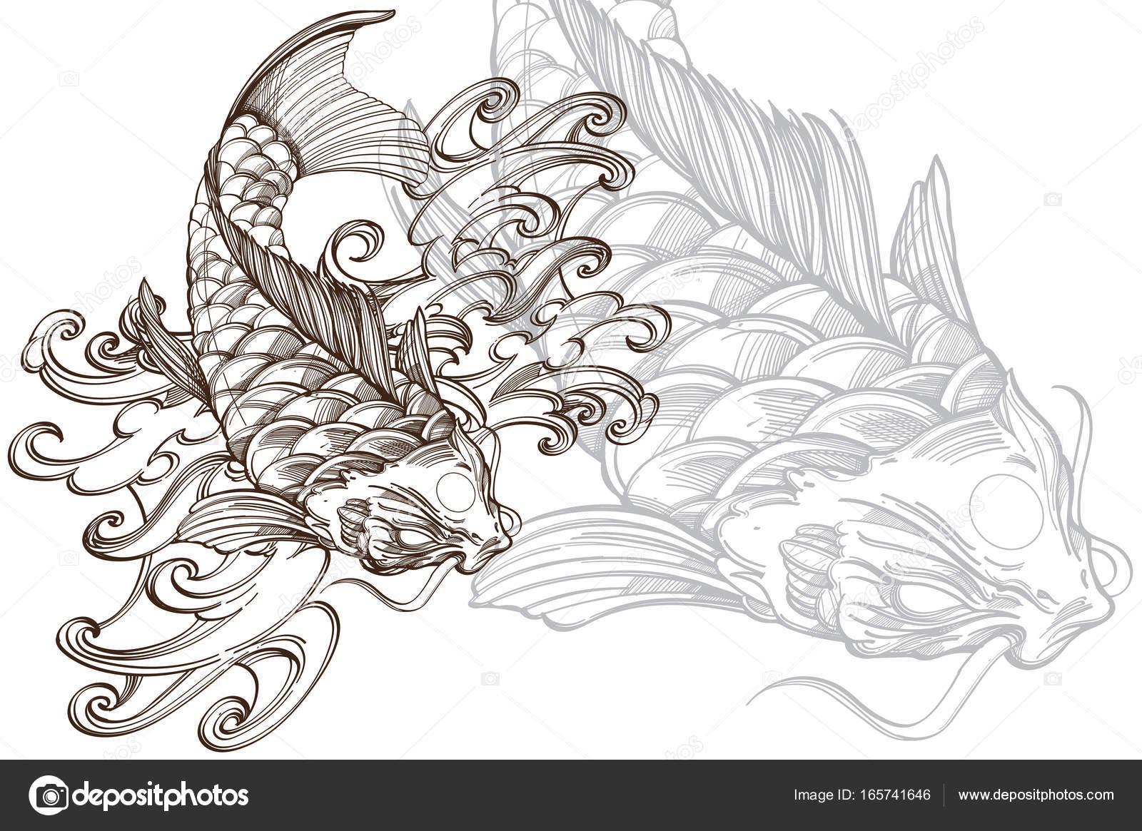 Dibujos Pez Koi Dibujo Blanco Y Negro Imagen De Pez Koi Con Onda