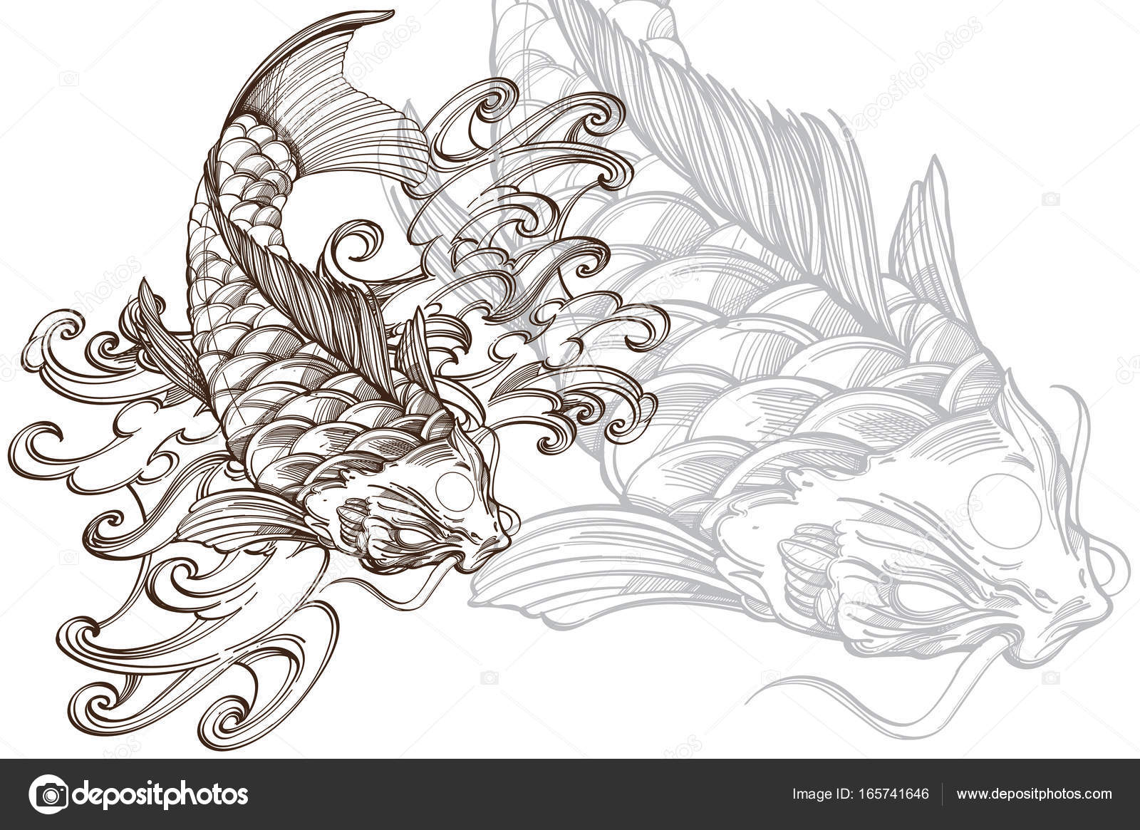 imagen de pez koi con onda — Vector de stock © filkusto #165741646